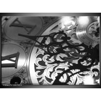 Glas Schilderij Klok | Grijs, Zwart