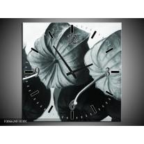 Wandklok Schilderij Bloem | Grijs, Groen, Zwart