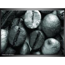 Glas Schilderij Koffiebonen, Keuken | Grijs, Groen, Zwart