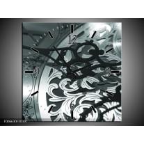 Wandklok Schilderij Klok | Grijs, Groen, Zwart