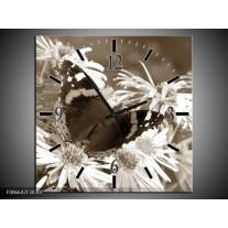 Wandklok Schilderij Bloemen, Vlinder | Sepia, Bruin