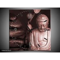 Wandklok Schilderij Boeddha, Stenen | Bruin, Rood, Zwart