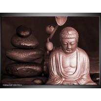 Glas Schilderij Boeddha, Stenen | Bruin, Rood, Zwart