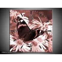 Wandklok Schilderij Bloemen, Vlinder | Bruin, Rood, Zwart