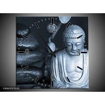 Wandklok Schilderij Boeddha, Stenen | Blauw, Grijs, Zwart