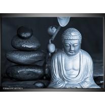 Glas Schilderij Boeddha, Stenen | Blauw, Grijs, Zwart