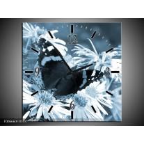 Wandklok Schilderij Bloemen, Vlinder | Blauw, Grijs, Zwart