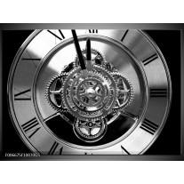 Glas Schilderij Klok, Keuken | Zwart, Wit, Grijs
