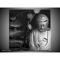 Wandklok Schilderij Boeddha, Stenen | Zwart, Wit, Grijs