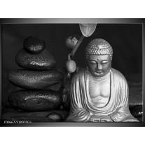 Glas Schilderij Boeddha, Stenen | Zwart, Wit, Grijs