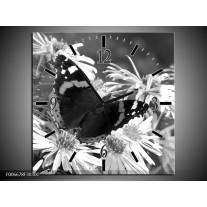 Wandklok Schilderij Bloemen, Vlinder | Zwart, Wit, Grijs