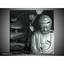 Wandklok Schilderij Boeddha, Stenen | Grijs, Groen, Zwart