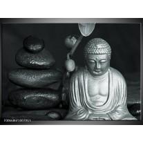 Glas Schilderij Boeddha, Stenen | Grijs, Groen, Zwart