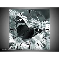 Wandklok Schilderij Bloemen, Vlinder | Grijs, Groen, Zwart