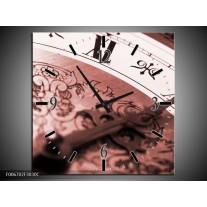 Wandklok Schilderij Klok, Keuken | Rood, Bruin