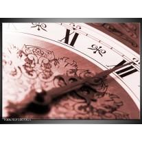 Glas Schilderij Klok, Keuken | Rood, Bruin