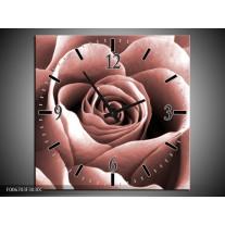 Wandklok Schilderij Roos, Bloem | Rood, Bruin