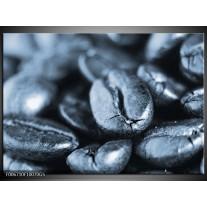 Glas Schilderij Koffiebonen, Keuken | Blauw, Grijs
