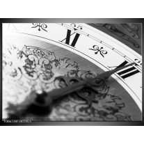 Glas Schilderij Klok, Keuken | Grijs, Zwart