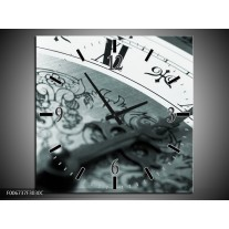 Wandklok Schilderij Klok, Keuken | Grijs, Zwart, Groen