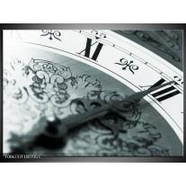 Glas Schilderij Klok, Keuken | Grijs, Zwart, Groen
