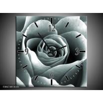 Wandklok Schilderij Roos, Bloem | Grijs, Zwart, Groen