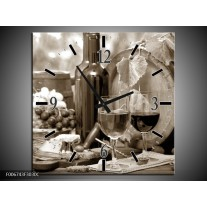 Wandklok Schilderij Wijn, Keuken | Sepia