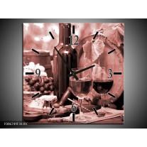 Wandklok Schilderij Wijn, Keuken | Bruin, Rood