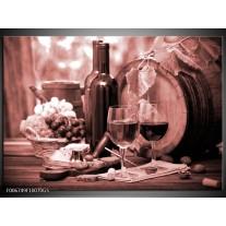 Glas Schilderij Wijn, Keuken | Bruin, Rood