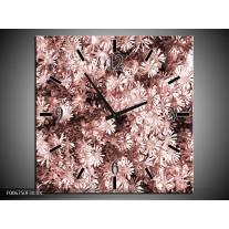 Wandklok Schilderij Bloemen | Bruin, Rood