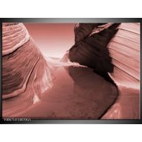 Glas Schilderij Zand | Bruin, Rood