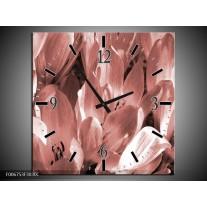 Wandklok Schilderij Bloemen, Krokus | Bruin, Rood