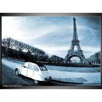 Glas Schilderij Steden, Parijs | Blauw, Grijs
