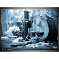Glas Schilderij Wijn, Keuken | Blauw, Grijs