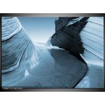 Glas Schilderij Zand | Blauw, Grijs