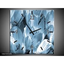 Wandklok Schilderij Bloemen, Krokus | Blauw, Grijs
