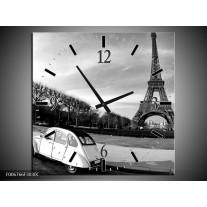 Wandklok Schilderij Steden, Parijs   Zwart, Wit, Grijs