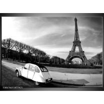 Glas Schilderij Steden, Parijs   Zwart, Wit, Grijs