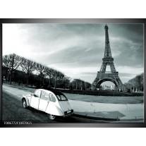 Glas Schilderij Steden, Parijs | Grijs, Groen