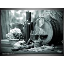 Glas Schilderij Wijn, Keuken | Grijs, Groen