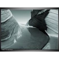 Glas Schilderij Zand   Grijs, Groen