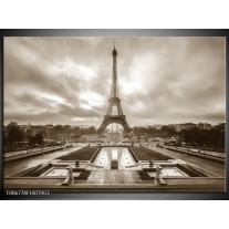 Glas Schilderij Parijs, Eiffeltoren | Sepia