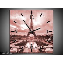 Wandklok Schilderij Parijs, Eiffeltoren | Bruin, Rood
