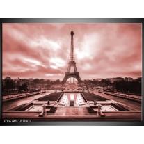 Glas Schilderij Parijs, Eiffeltoren | Bruin, Rood