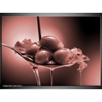 Glas Schilderij Olijven, Keuken | Bruin, Rood