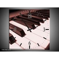 Wandklok Schilderij Muziek, Piano | Bruin, Rood