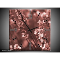 Wandklok Schilderij Bloemen, Lente | Bruin, Rood