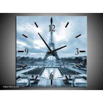 Wandklok Schilderij Parijs, Eiffeltoren | Blauw, Grijs