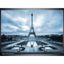 Glas Schilderij Parijs, Eiffeltoren | Blauw, Grijs