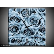 Wandklok Schilderij Bloemen, Roos | Blauw, Grijs